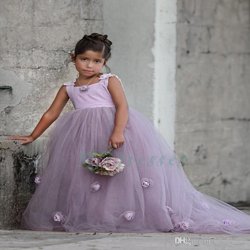 2017 Yeni Lavanta Çiçek Kız Elbise Kız Prenses Pageant Törenlerinde Parti Örgün Çiçek Kare Çocuklar Balo Elbiseler Düğün için
