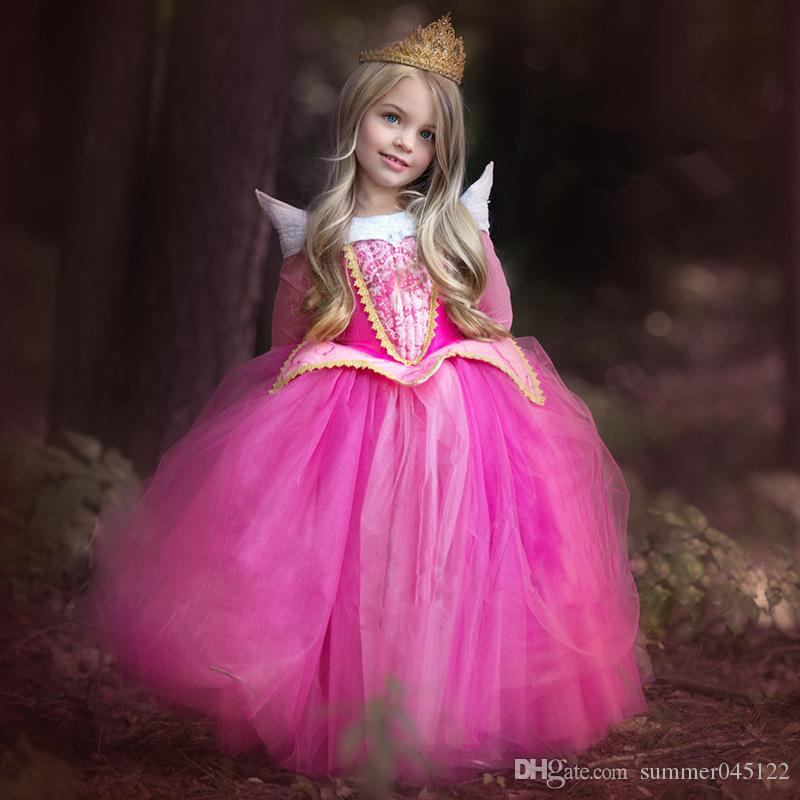 2018 Girls Aloe Princess Party Dress Sleeping Beauty Ball Gown Girls ...