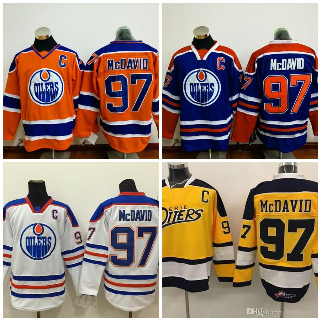low priced be2ac 148a6 Edmonton Oilers 97 Connor McDavid Jersey 29 Leon Draisaitl 44 Zack Kassian  99 Wayne Gretzky 33 Cam Talbot Authentic Hockey Jerseys