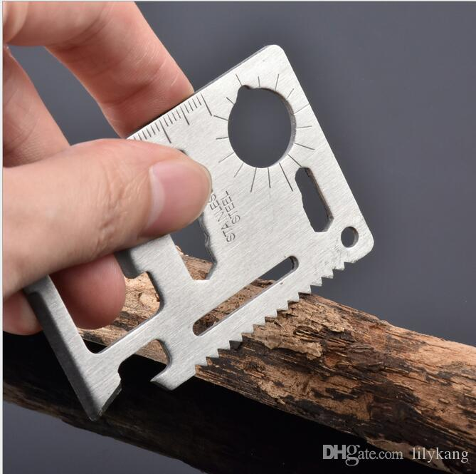 Mini EDC survival tools 11 in 1 Multi Pocket stainless steel Card Knife wallet Outdoor Camping Survival Life Saving Stainless Steel Tools