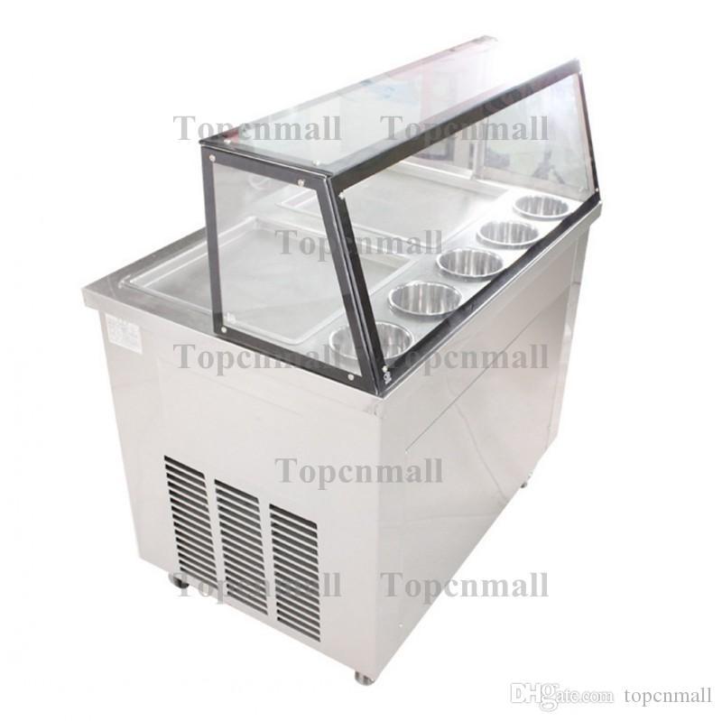 220 v / 110 v duplo quadrado 35 cm pan frito máquina de sorvete 1060 w r22 / r410a leite fritar sorvete com escudo de vidro e caixa capa iogurte rolo