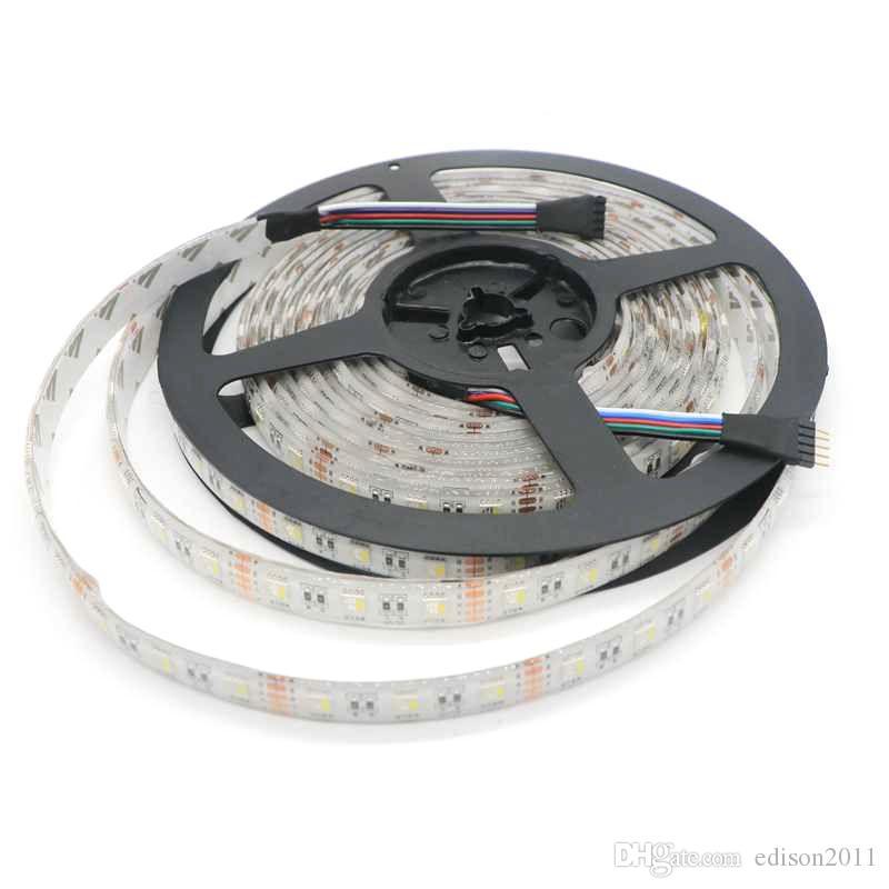 LED 스트립 5050 4 색 1 LED 칩 60 LED / M 5m / 롤 DC24V 유연한 LED 빛 RGB + 화이트 / RGB + 웜 화이트
