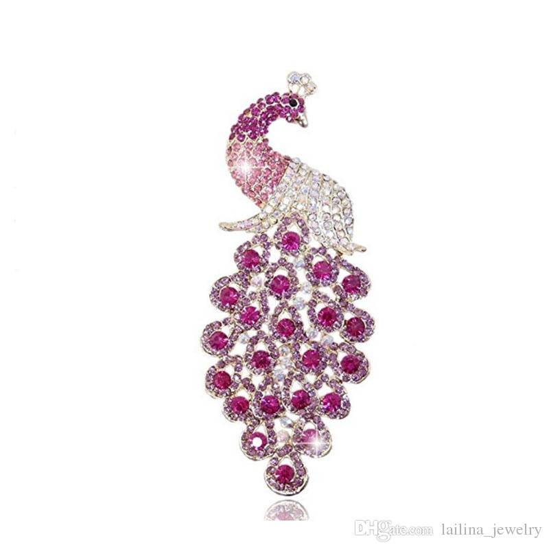Graceful Big Peacock Brooch Pin Jewelry for Women  Pink & Blue color