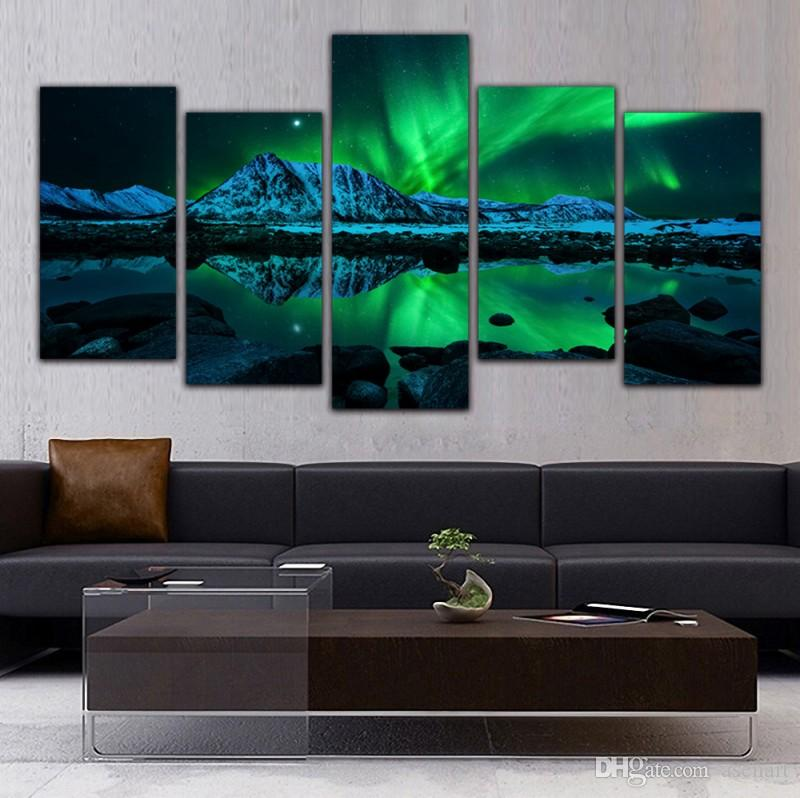 Online Cheap 5 Panel Canvas Art Aurora Borealis Sea Wave Canvas ...