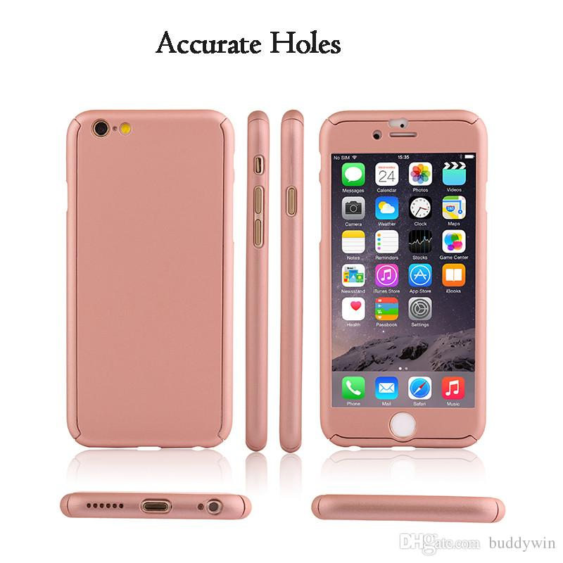 Ultra-thin Hybrid 360 Degree Full Body Protective Case with Tempered Glass Screen Protector for iPhone 7plus 7 6splus 6 5s 5 With Opp Bag