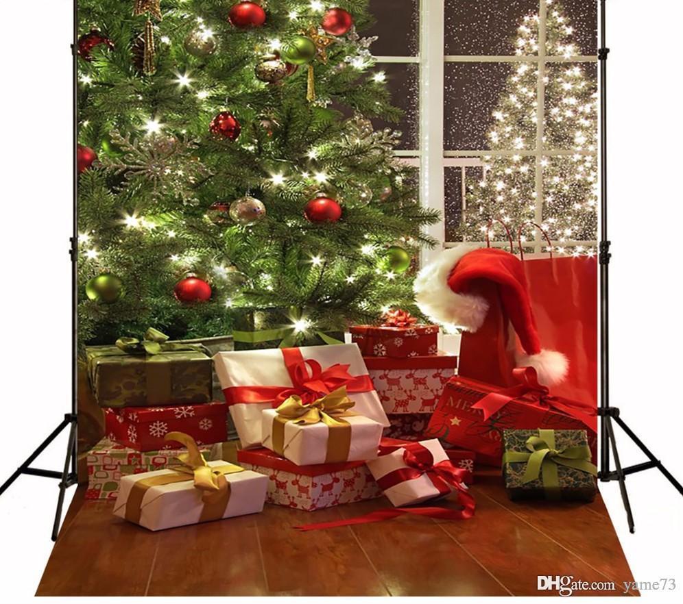 5x7ft Vinyl Christmas Tree Gifts Photography Studio Backdrop ...