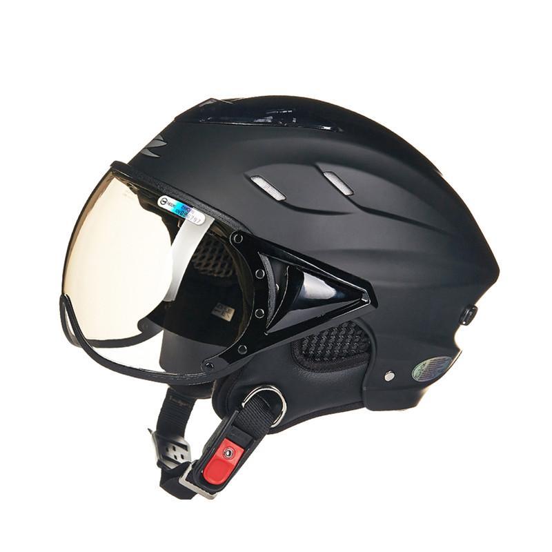 a82dc722d Wholesale- Summer motorcycle helmet Electric bicycle helmet Vintage Scooter  half helmet Moto casco Men women s E-bike capacete