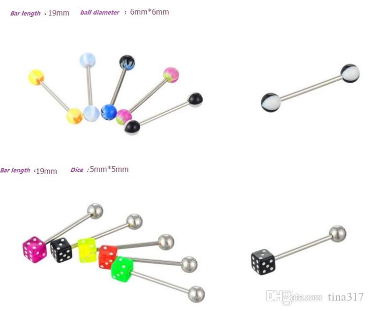 Mix Acrylic Stainless Steel Eyebrow Navel rings Belly Lip Tongue Ring Nose Bar Rings Body Piercing Jewelry C060
