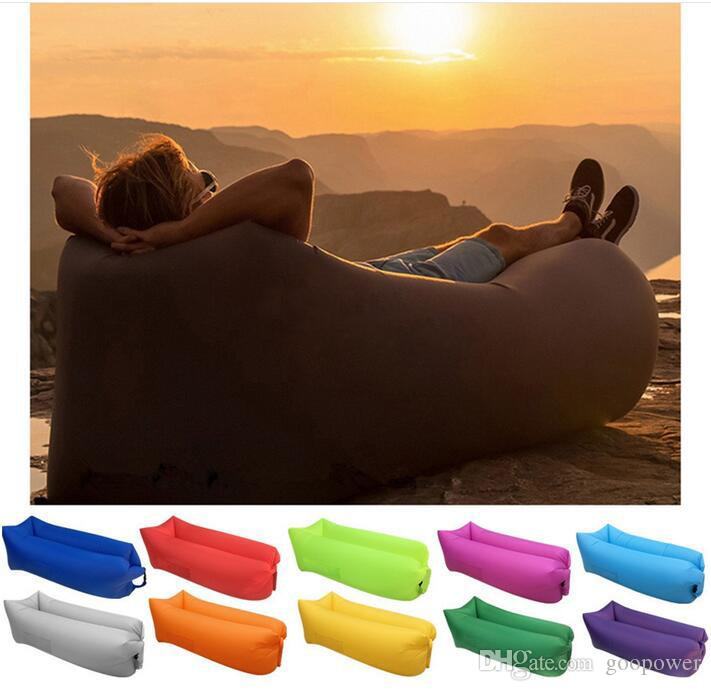 oisk fast inflatable sofa upgrade camping sleeping bag banana lazy chair nylon hangout air beach bed chair couch lay bag travel bed in stock big and tall