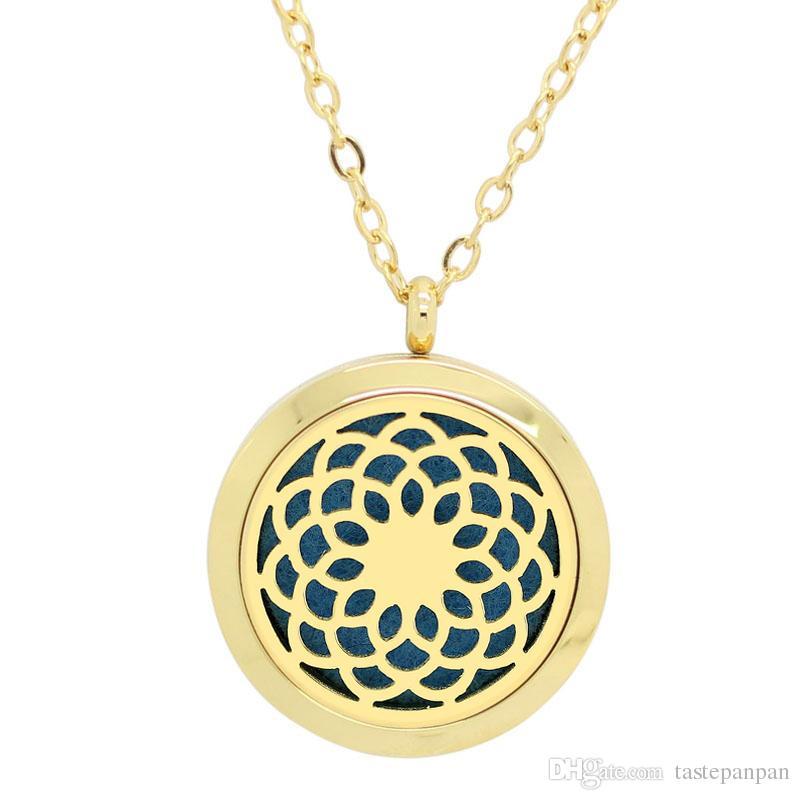 ¡Con cadena como regalo! 316L Acero inoxidable color plata magnético perfume medallón aceite esencial difusor medallón collar