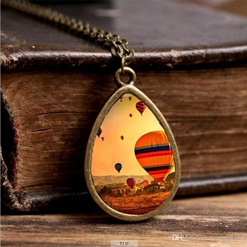 2019 New Hot Air Balloon Necklace Colorful Air Balloon Jewelry Tear Drop Pendant Travel Chain Glass Photo Necklaces