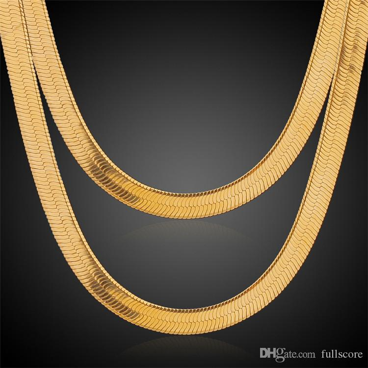 10mm 24Inch Men Women Yellow Gold Color Filled Plated Link Herringbone Necklace Chains Jewelry Factory Wholesale