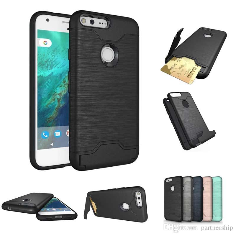 the latest 4d6f6 63215 Wire Drawing Design Case For Google Pixel Case Armor Heavy Duty For Google  Pixel XL Case With ID Credit Card Slot Holder Kickstand
