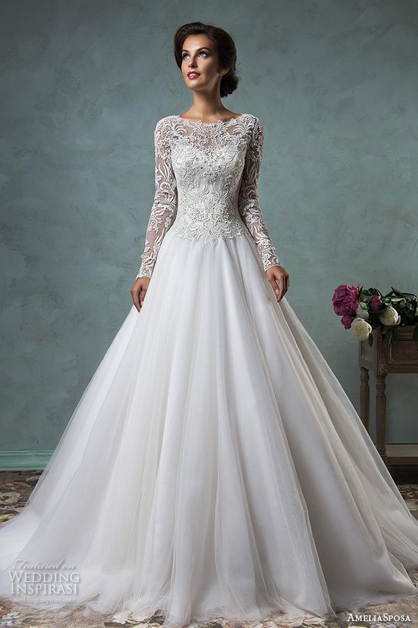 Long Sleeve Vintage Wedding Dresses 2017 Amelia Sposa 3D Lace High ...