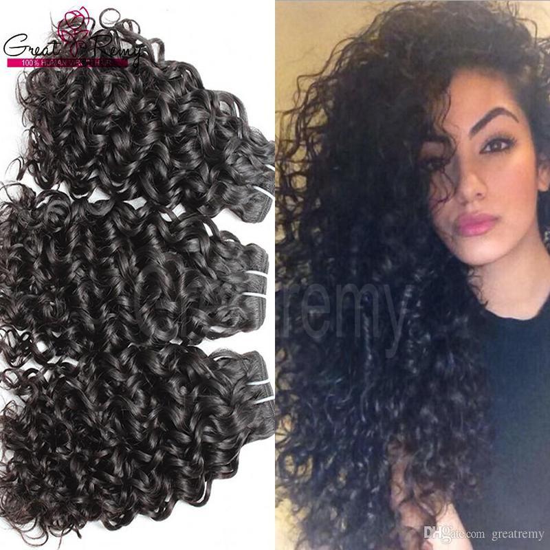 Greatremy® / porción brasileña india de Malasia sin procesar trama del pelo humano de la onda de agua bleachable la extensión del pelo Virign paquetes de pelo