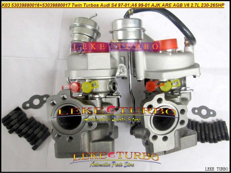 K03 16 17 53039880016 53039880017 Twin Turbo Turbocharger For AUDI S4  97-01