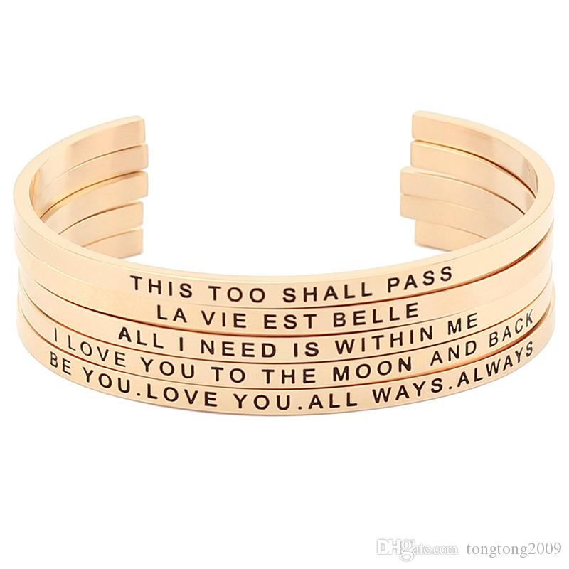 New and Hot! Wholesale Stainless Steel Open Cuff Hand Stamped Bracelet Engraved Words Rose Gold Mantra Bangle Jewelry