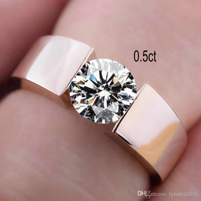 Silver S925 Rings Women Men Rose Gold Engagement Diamond Solitaire