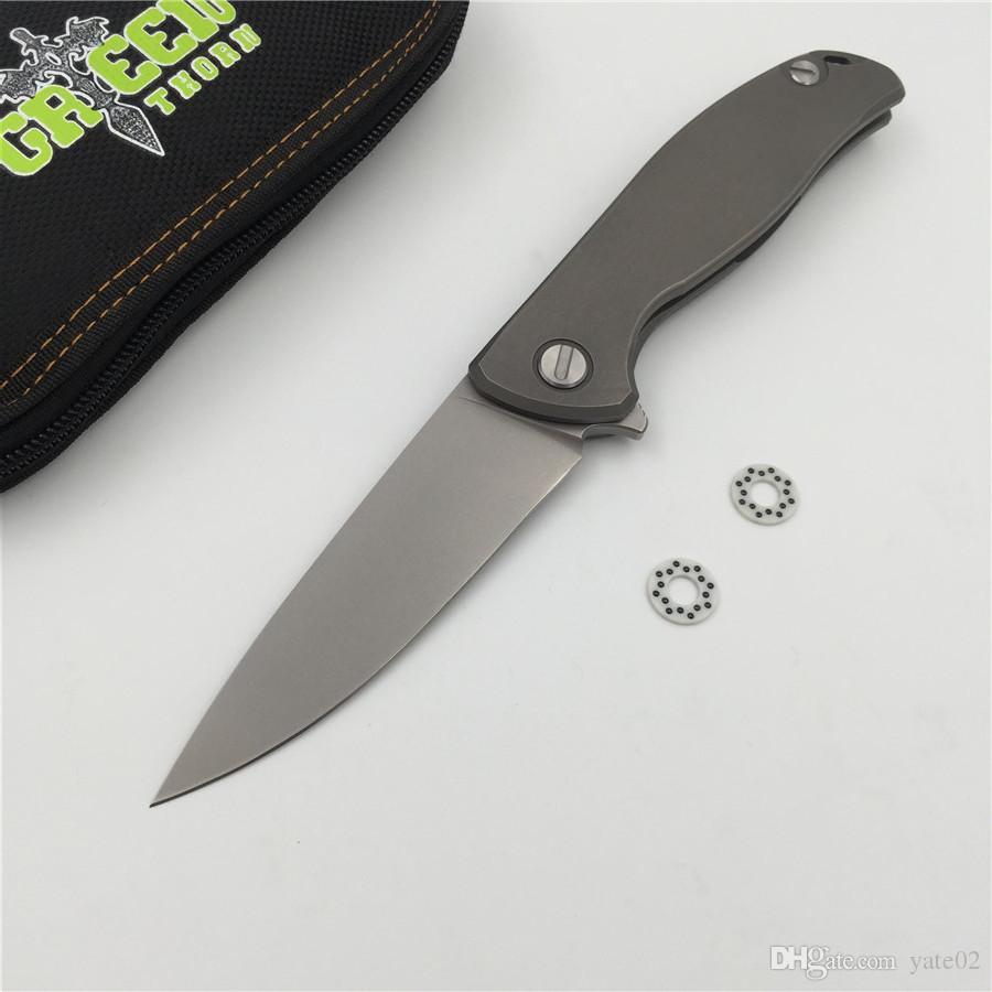 녹색 가시 F95 플리퍼 접이식 칼 D2 블레이드 TC4 티타늄 플랫 핸들 야외 캠핑 사냥 주머니 과일 칼 EDC 도구