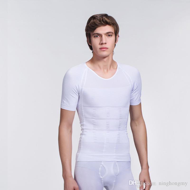 f305d73009df5 2019 BODY SCULPTING SHAPER T SHIRT SHORT SLEEVE Male Men S Posture  Correction Round Neck Slimming Shirt Waist Trainer Corsets For From  Ninghongmy