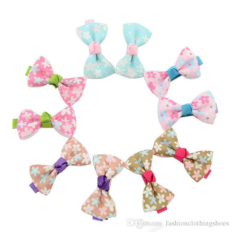 Baby Girls Bow Clips Candy Color Solid/ Polka Dot Flower Print Ribbon Bow Hairpin BB Hair Clips for Baby Girls Kids Hair Accessories