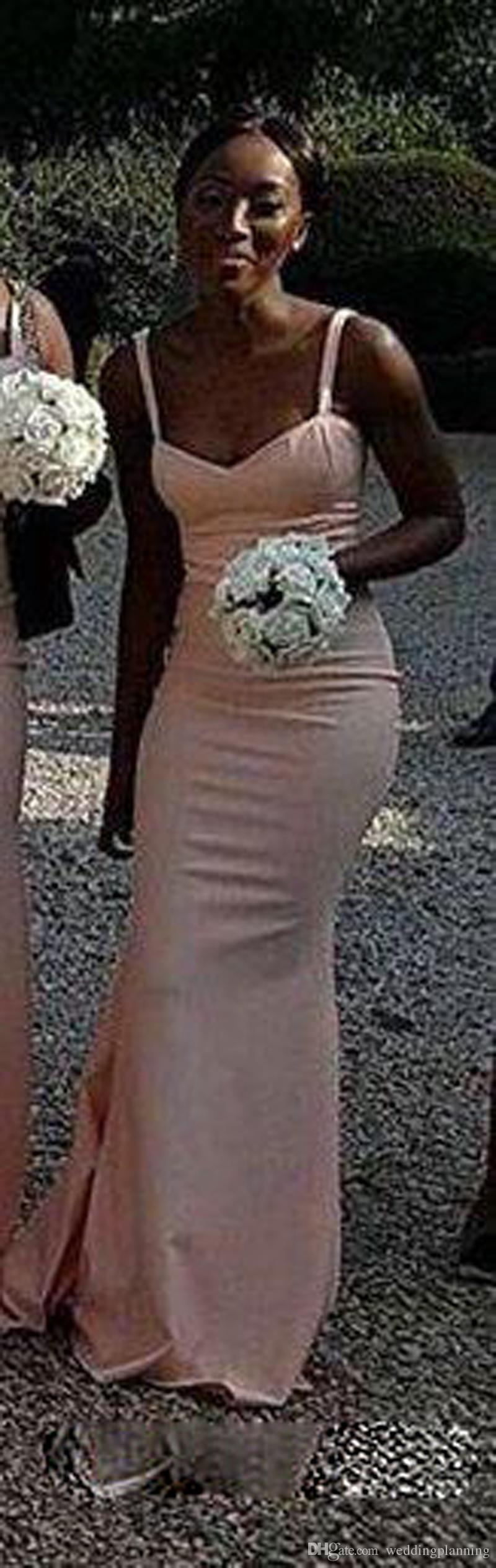 Agradável Sul Africano Dama de Honra Vestidos de Cetim Sereia Convidado Do Casamento Vestido de Cintas de Espaguete País Damas de honra Vestidos de Longo vestido madrinha