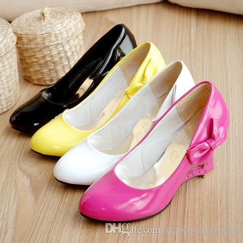 big size for lady bowknot fashion candy sweet patent leather wedge heel Cut-Outs women high heel lady shoe018