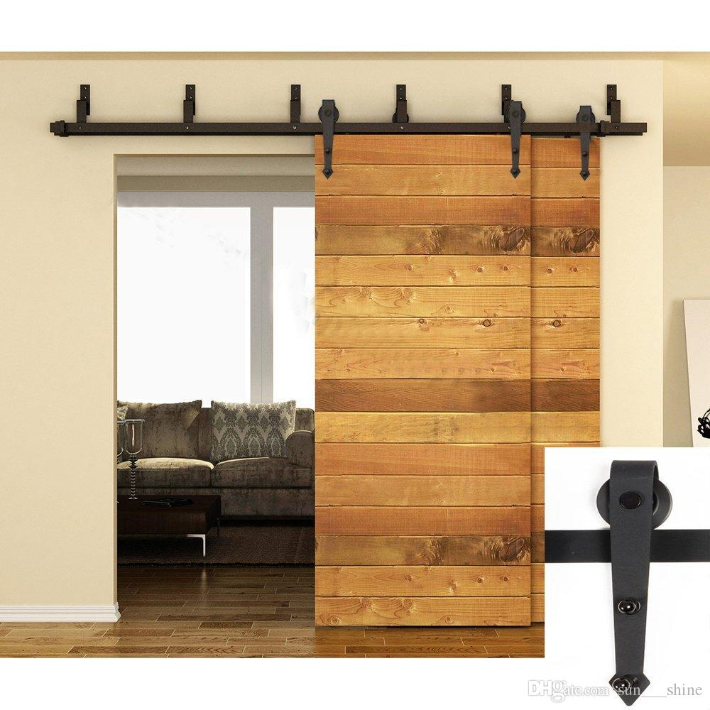 5 16FT Bypass Arrow Design Double Wood Door Hardware Rustic Sliding Roller Barn Closet Track Kit Set For Outside Or Inside
