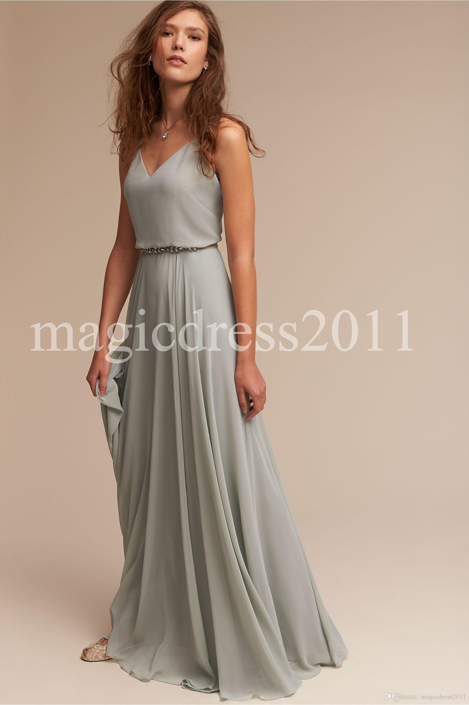 Bhldn 2017 Cheap A Line Chiffon Bridesmaid Dresses A Line Deep V-Neck Backless Long Summer Beach Garden Wedding Guest Evening Party Gowns
