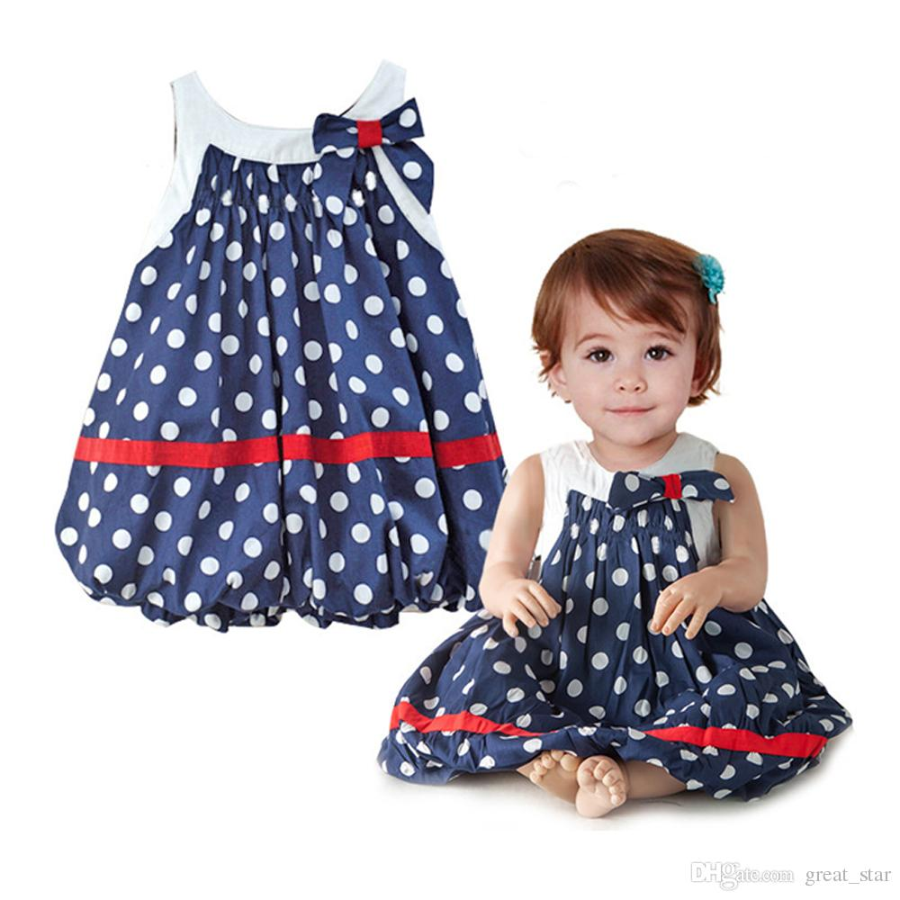 New Summer Baby Navy Blue And White Dots Cute Baby Dress Bowknot