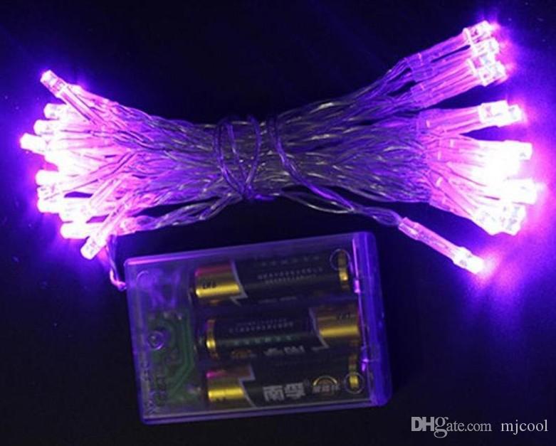 Geführtes Schnur-Licht 2M 3M 4M 5M 10M 3xAABattery betriebene Schnur-Licht-Dekorationen für Weihnachtsfest-Hochzeit Freies Verschiffen