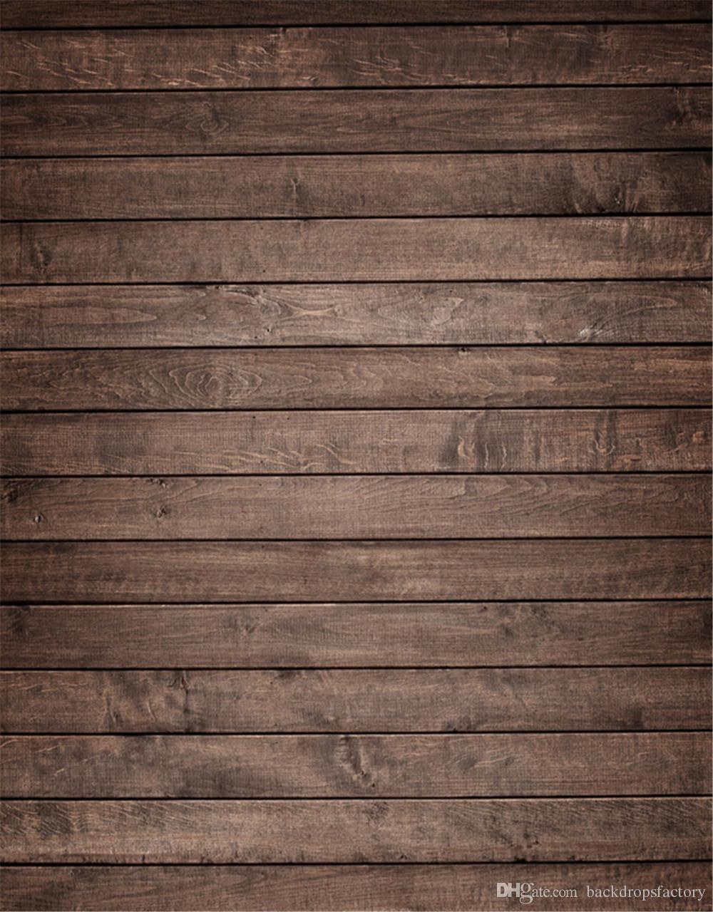 2018 Vintage Dark Brown Wood Planks Vinyl Backdrops For