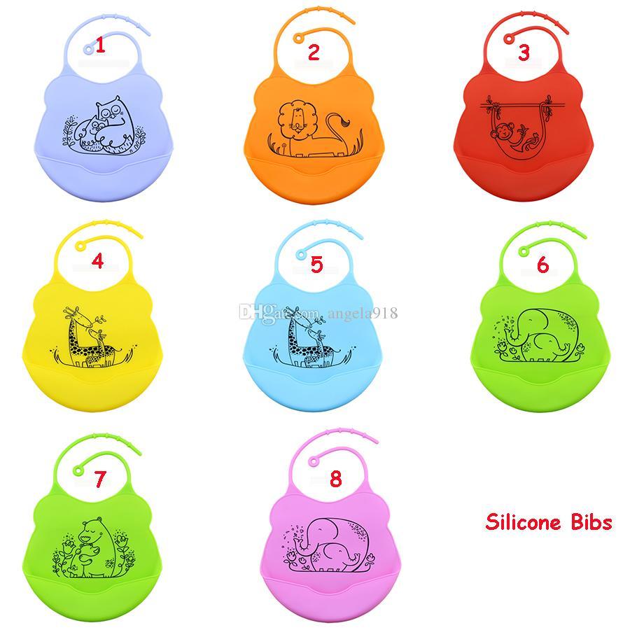 Yeni Silikon bebek önlükler Bebek Besleme Bebek Çocuk Yıkanabilir Önlük Eğlenceli Karakterler Su Geçirmez karikatür tasarım 26 * 19.5 cm
