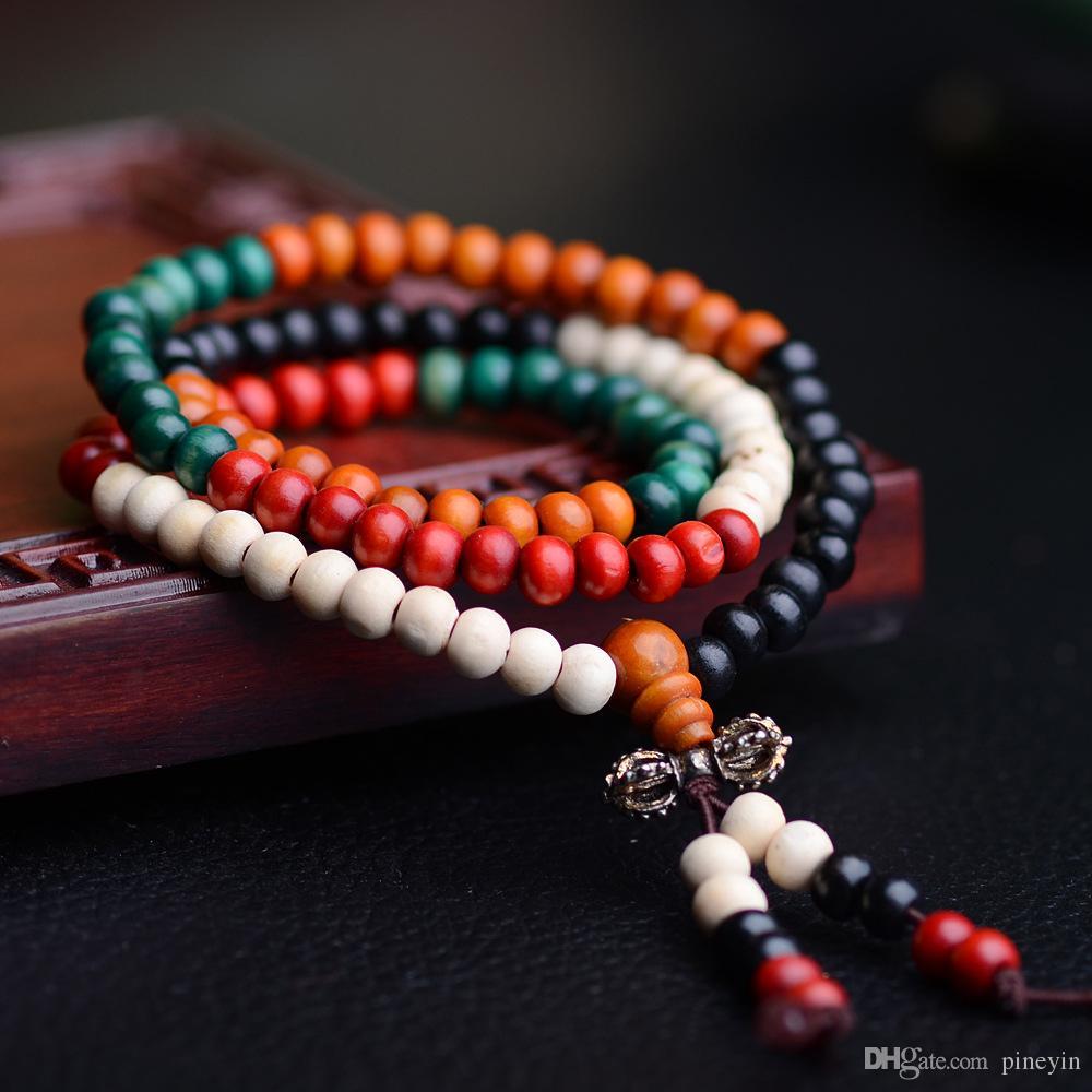 108 * 0.6 Cuentas de Oración Naturales Pulseras Budistas Tibetanos Mala Rosario Rosario Collar de Joyería de Madera NE644