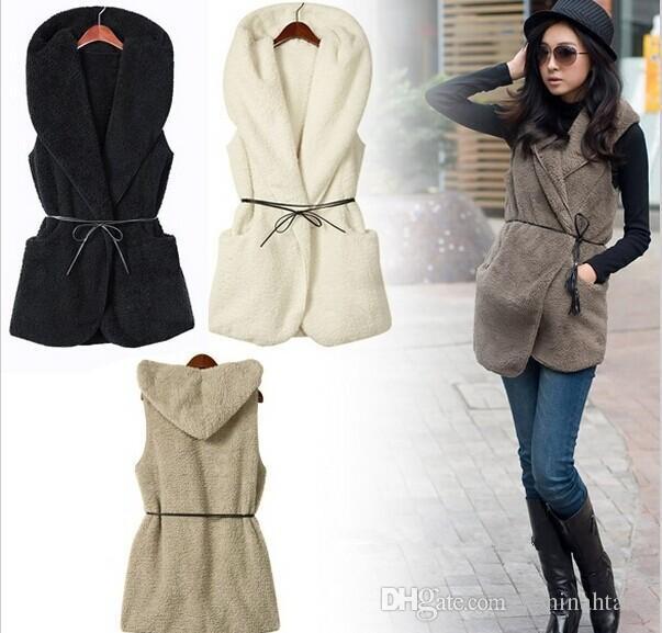 En gros livraison gratuite Mode Femmes Dames À Capuche Faux Agneau De Fourrure D'hiver gilet sans manches Veste Manteau Avec Chapeau livraison gratuite