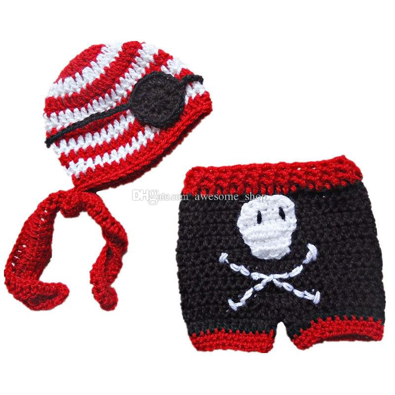 Super Cool Baby Pirate Costume,Handmade Knit Crochet Baby Boy Girl Striped Pirate Hat Eye Patch and Pants,Infant Toddler Photo Prop