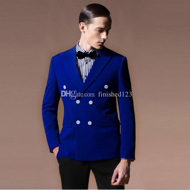 2f2583812 Moda novio esmoquin padrinos de boda cruzado azul real pico solapa mejor  traje de hombre boda trajes de chaqueta de los hombres (chaqueta pantalones  ...