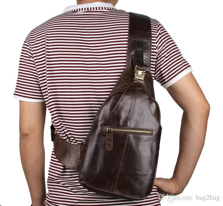 New Brand Chest Bags for Men Crossbody Messenger Bags Casual Man Genuine Leather Chest Pack Mens Single Shoulder Bag for Men Handbags Brown