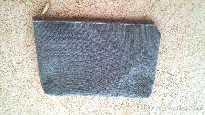 Girl Pure white gray cotton canvas small coin purse DIY blank plain bags 18*12cm black zipper change pocket cell phone bags
