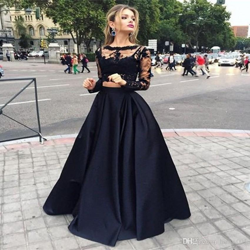 51d94c443b857 Fashion Trend 2017 Two Pieces Prom Dress Black Long Sleeve Satin Homecoming  Cheap High Neck Prom Gowns Evening Dresses Size 22 Evening Dresses Uk  Evening ...