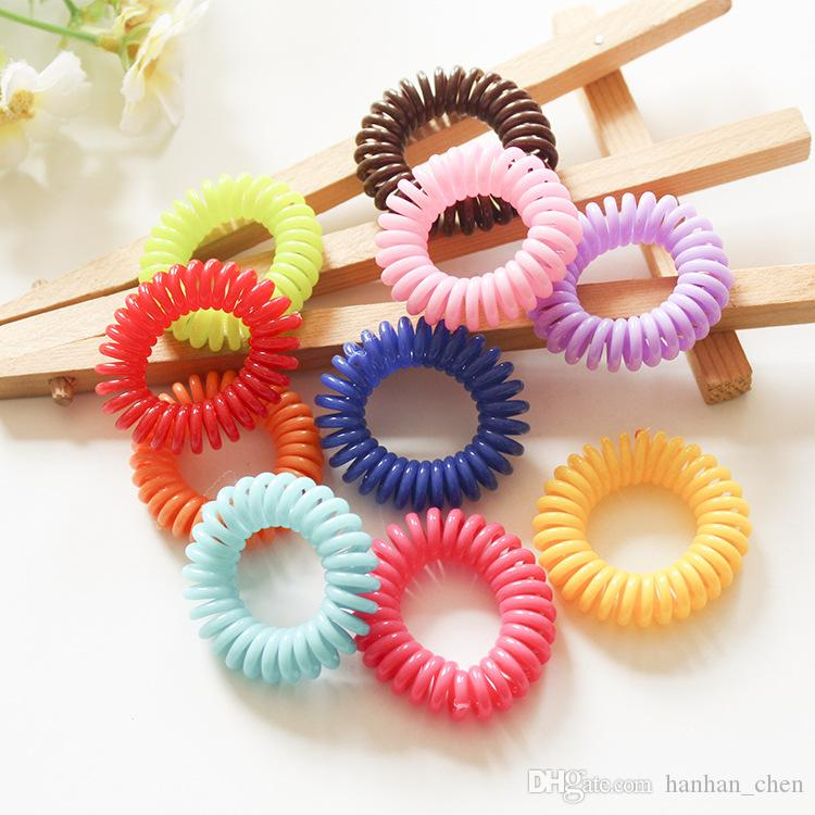 2018 Real Promotion Mix Color Headbands Under $2 Candy Colored Telephone Line Hair Band Fashionable Elastic Ties Ring Rubber Accessory A003