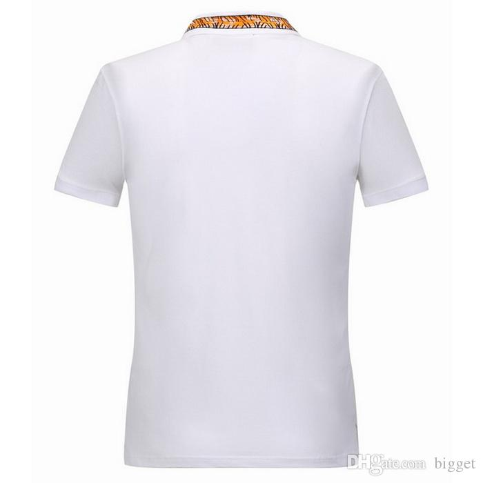 Tiger Embroidery Collar Polo Shirt Men Leisure Tops Short Sleeved Stretch Cotton Turn Neck Split Hem Polo