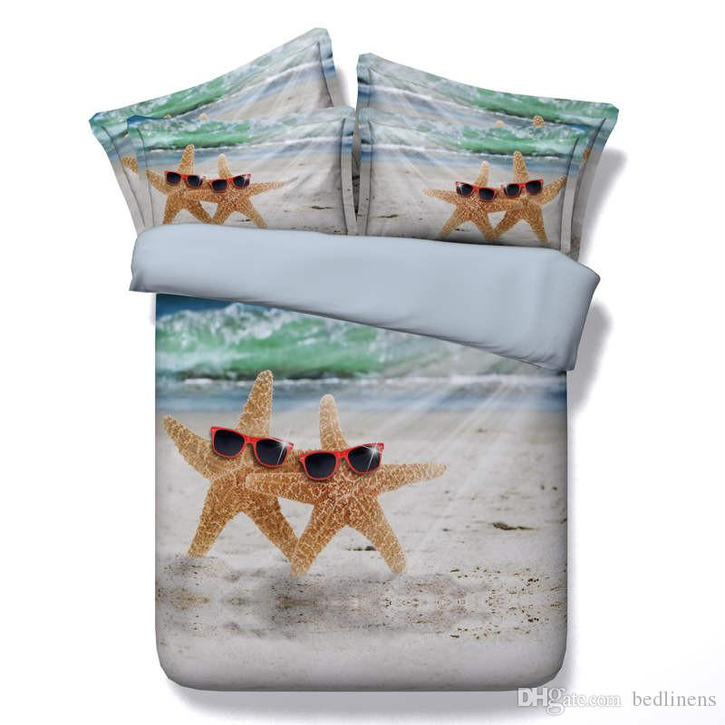 6 Styles Pearl Shell Starfish 3D Print Bedding Sets Twin Full Queen King Size Bedspreads Bedclothes Duvet Covers Beach Sea Sunshine 3/