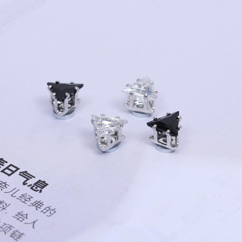 2016 HOT SALE Magnetic earrings for men fashion cool Hiphop 6MM 8MM square round black White stud earrings clip no pierced