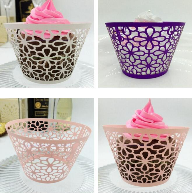 wedding Favors Butterfly Vine Filigree Laser Cut Lace Cup Cake Wrapper Cupcake Wrappers For Wedding Birthday Party Decoration