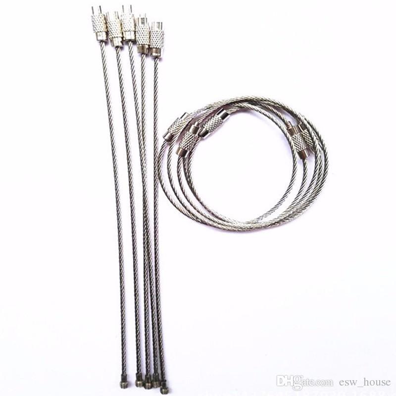 Kaliteli Paslanmaz Çelik Tel Anahtarlık Tel Halat Anahtarlık Carabiner Kablo Açık Yürüyüş için Anahtarlık Anahtarlık