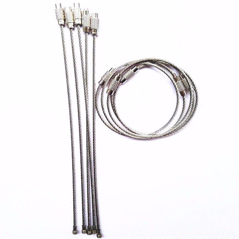 Paslanmaz Çelik Tel Anahtarlık tel halat anahtarlık Açık Yürüyüş için Carabiner Kablo Anahtarlık Anahtarlık