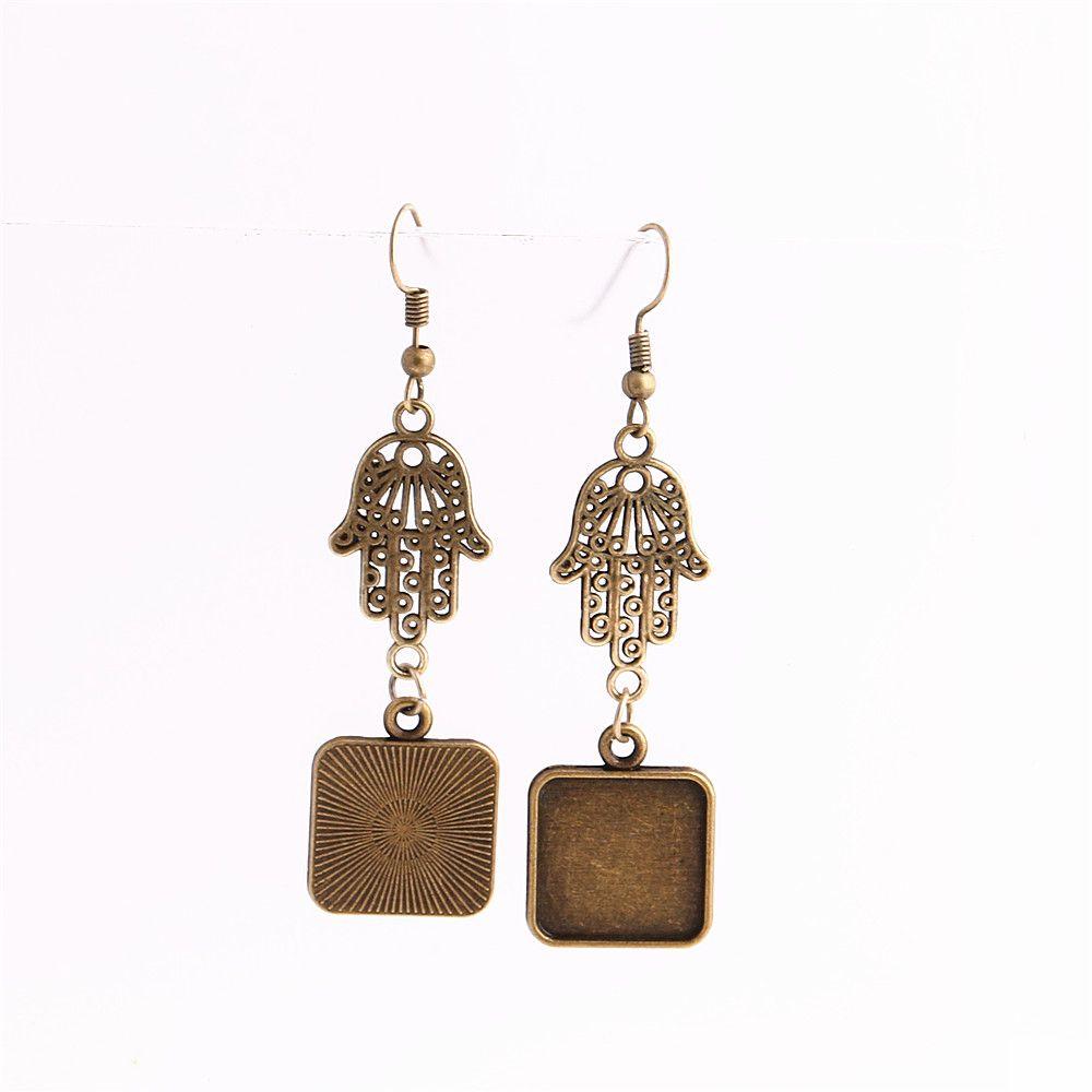 SWEET BELL Metal Alloy Zinc Hamsa Hand Charm Fit Square 16mm Cabochon Set Pendant Drop Earing Jewelry Making C0812