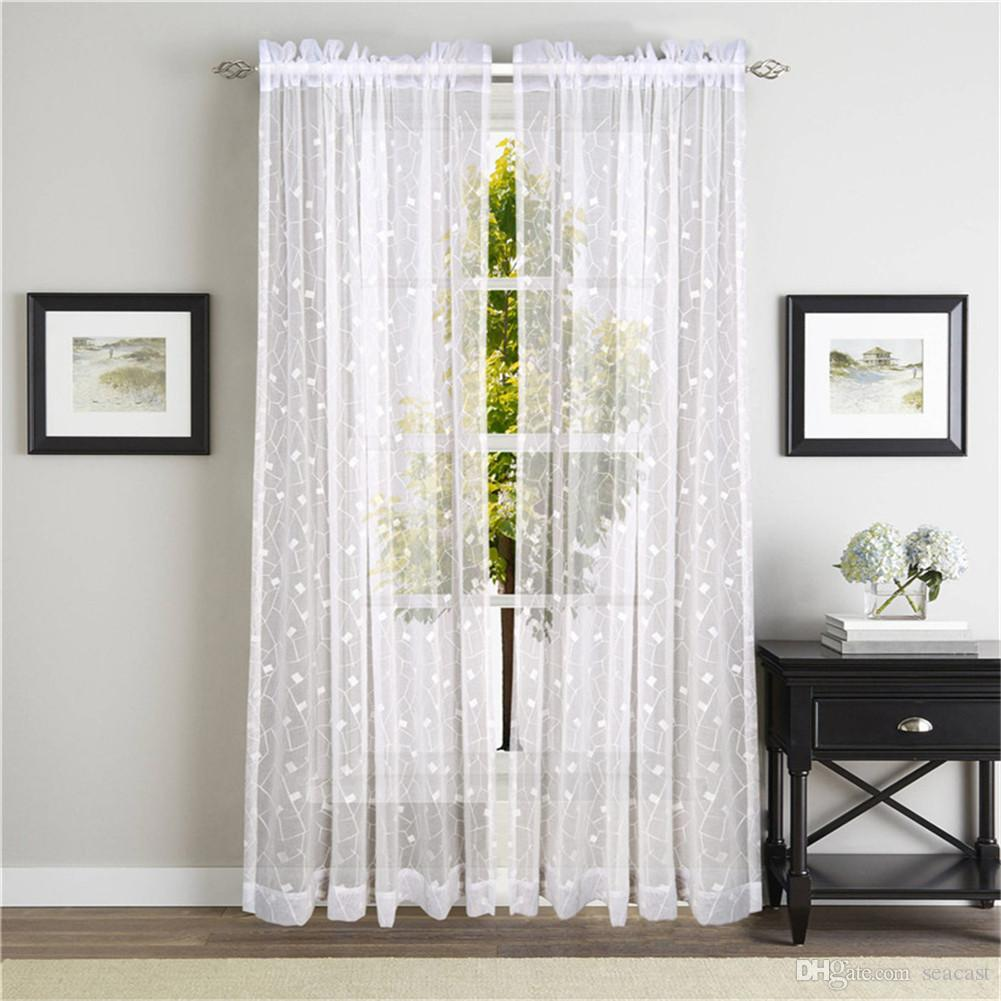 Geometric curtains Curtains Voile Tulle Elegant Floral Tulle Voile Door Window Curtain Drape Panel Sheer Scarf Valances Sheer Curtains