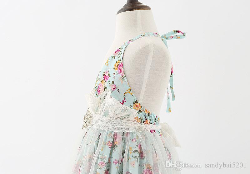 Kids Girls Lace Dresses Baby Girl Floral Print Tulle Dress 2017 Backless Infant Princess Girls Sleeveless Tutu Dress for Party Vestidos B609